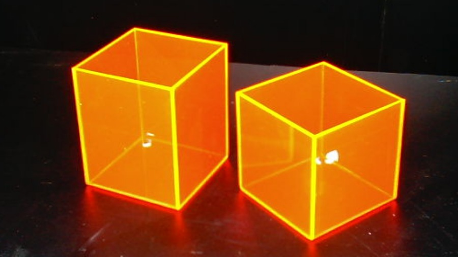 Caixas em Acrílico Laranja Neon
